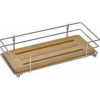 Evideco Bathroom Metal Wire Shelf Basket Organizer with Bamboo Tray Brown