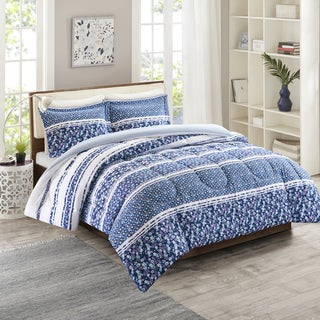 Intelligent Design Amelia Blue Reversible 3-piece Comforter Set