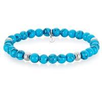 ELYA Turquoise Stainless Steel Beaded Bracelet (6.5mm wide) - Blue