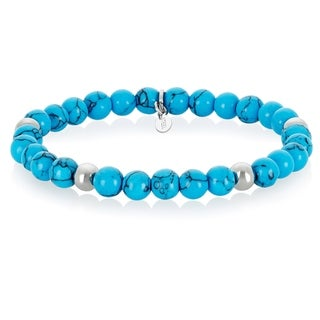 ELYA Turquoise Stainless Steel Beaded Bracelet (6.5mm wide) - Blue