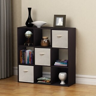 Homestar 9 Cube with Fabric Bins in Black Brown Finish