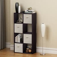 Homestar 8 Cube with Fabric Bins in Black Brown Finish