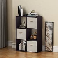 Homestar 6 Cube with Fabric Bins in Black Brown Finish