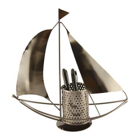 Pen holder with sail boat
