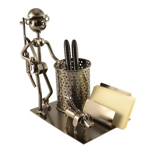 Pen and business card holder with hunter character