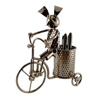Pen holder with dog on tricycle