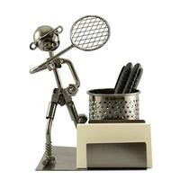 Pen and business card holder with tennis player
