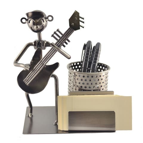 Pen and business card holder with guitar player