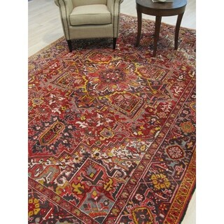 Hand-knotted Wool Red Traditional Geometric Heriz Rug - 8' x 11' 4