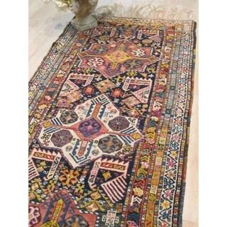 Hand-knotted Wool Yellow Traditional Geometric Kafkazi Rug - 3' 3 x 7' 9