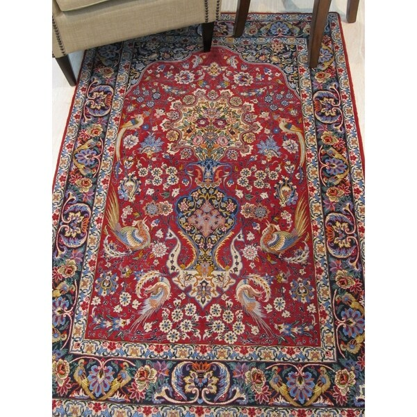 Hand Tufted Traditional Oriental Red Wool Rug With Non