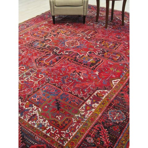 Hand-knotted Wool Red Traditional Geometric Heriz Rug - 9' x 13'
