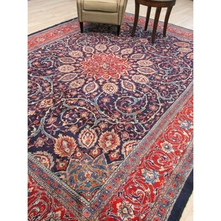 Hand-knotted Wool Blue Traditional Oriental Sarouk Rug - 10' x 13'
