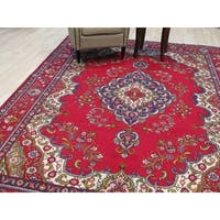 Hand-knotted Wool Red Traditional Geometric TABRIZ Rug - 8' x 11' 4