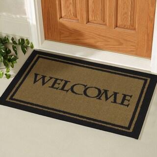 Ottomanson USA Rugs Collection Rectangular Non-slip Beige Welcome Doormat (1'8 x 2'6)