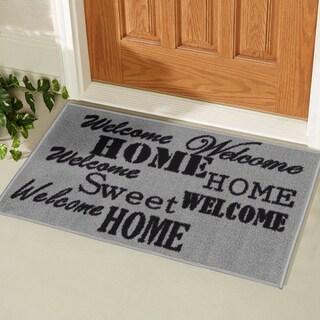 Ottomanson USA Rugs Collection Rectangular Non-slip Grey Sweet Home Doormat (1'8 x 2'6)