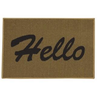 "Ottomanson USA Rugs Collection Rectangular Hello Doormat (Non-Slip) 20"" x 30"", Beige"
