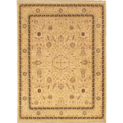 """Ziegler Sul Collection Hand-Knotted Biege Wool Area Rug (9' 2"""" X 12' 2"""") - 9' x 12'"""