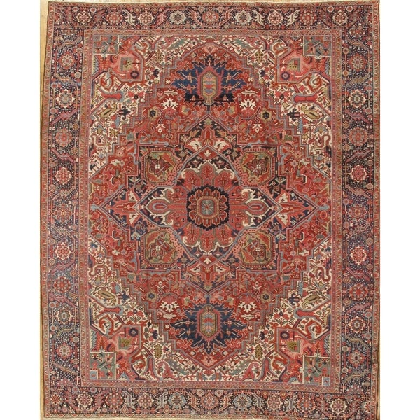 12 10 X 14 11 Persian Karajeh Hand Knotted Wool: Antique Heriz Rugs