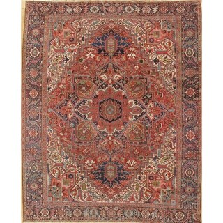 """Antique Heriz Hand-Knotted Rust/Navy Wool Rug (11'10"""" X 14' 7"""")"""