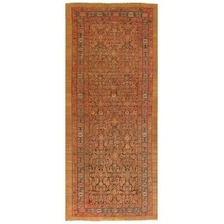 """Antique Serab Brown/L.Blue Hand-Knotted Wool Rug (5' 6"""" X 12' 3"""")"""