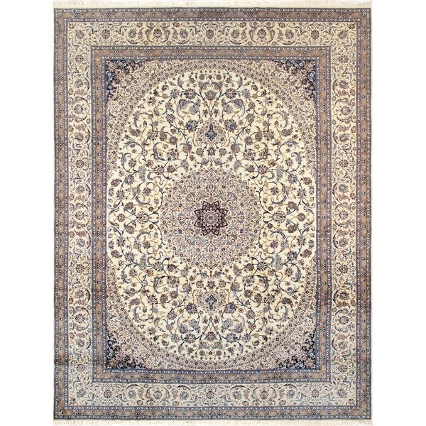 Shop Pasargad Persian Nain Collection Ivory/Beige Wool Rug