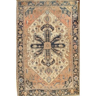 "Antique Serapi Hand-Knotted Camel/Black Wool Rug (11' 5"" X 17'11"")"