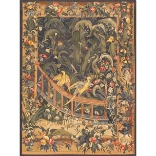 Pasargad Tapestry Multicolor Lamb's Wool Handmade Area Rug (4'10 x 6'8)