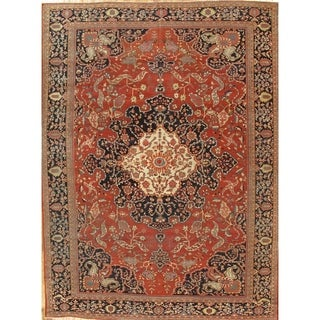 "Antique Rust/Navy Ferehan Hand-Knotted Wool Rug (10'11"" X 14' 9"")"