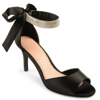 Journee Collection Women's 'Briela' Open-toe Rhinestone Ankle Strap High Heels