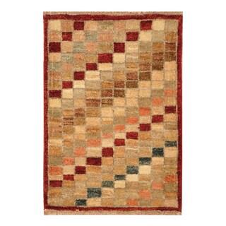 Handmade Herat Oriental Afghan Hand-knotted Vegetable Dye Wool Rug (1'5 x 2)