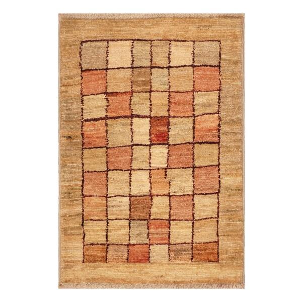 Handmade Herat Oriental Afghan Hand-knotted Vegetable Dye Wool Rug - 1'4 x 2' (Afghanistan)