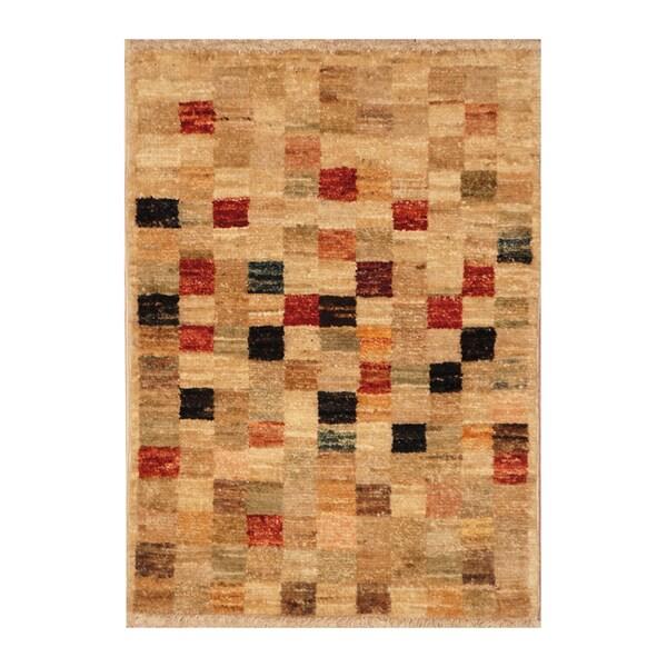 Handmade Vegetable Dye Wool Rug (Afghanistan) - 1'5 x 2'