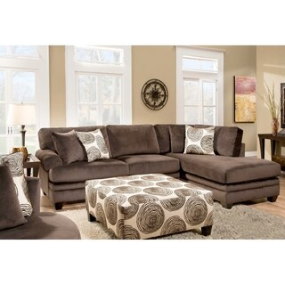 SofaTrendz Padded Micro Suede Sectional and Ottoman Set