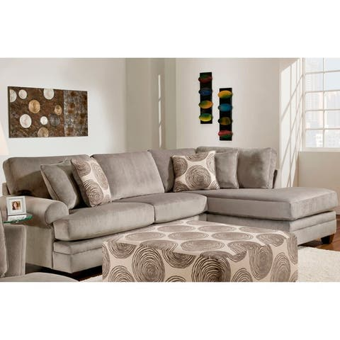 Grey Microsuede Sectional Sofas