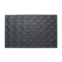 A1HC Leaf Pattern Natural Rubber 24 In. X 36 In. Residential/Commercial Scraper Doormat with Anti Trip Tapered Edge