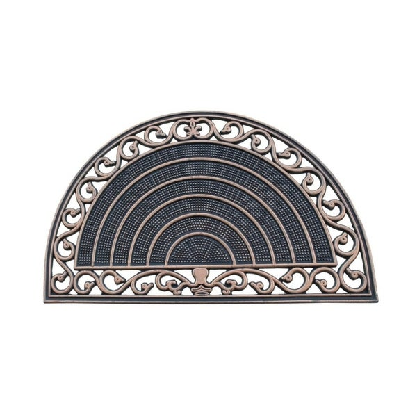 A1HC First Impression Half Round Grill Border 18 In. X 30 In. 100% Rubber Multi Utility Doormat with Bronze Finish.