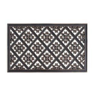 A1HC First Impression Applique Pattern 18 In. X 30 In. 100% Rubber Doormat with Bronze Finish for Indoor/Outdoor Use.