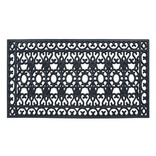 A1HC First Impression Scrollwork 24 In. X 48 In. 100% Rubber Beautifully Hand Finished Elegant Large Double Doormat