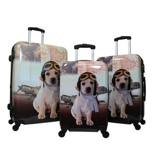 Chariot Oldies Doggie 3-Piece Hardside Lightweight Upright Spinner Luggage Set