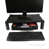 Mind Reader Extra Wide Plastic Monitor Stand Computer Riser With Drawer, Black