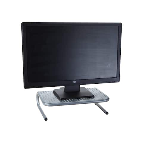 Mind Reader 'Collar' Metal Monitor Stand with Keyboard Storage Space, Silver