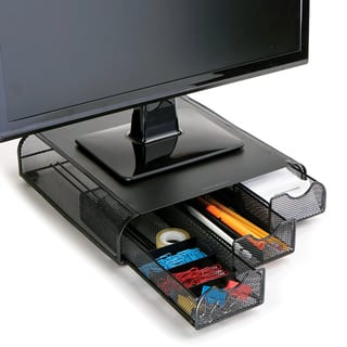 Mind Reader 'Perch' PC, Laptop, IMAC Monitor Stand and Desk Organizer, Black Metal Mesh|https://ak1.ostkcdn.com/images/products/18114169/P24269385.jpg?impolicy=medium