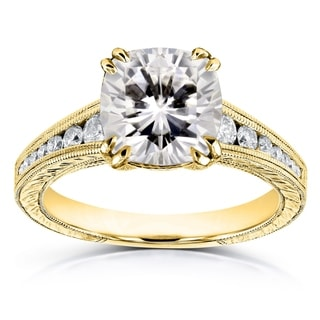 Annello by Kobelli 14k White Gold 2 1/4ct TCW Moissanite (HI) and Diamond Vintage Channel-set Engagement Ring