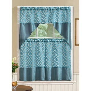 RT Designers Collection Riviera Printed Faux Silk Tier and Valance Kitchen Curtain Set