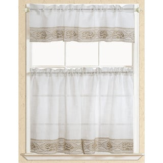 RT Designers Collection Eden Lace Kitchen Curtain Tier and Valance Set