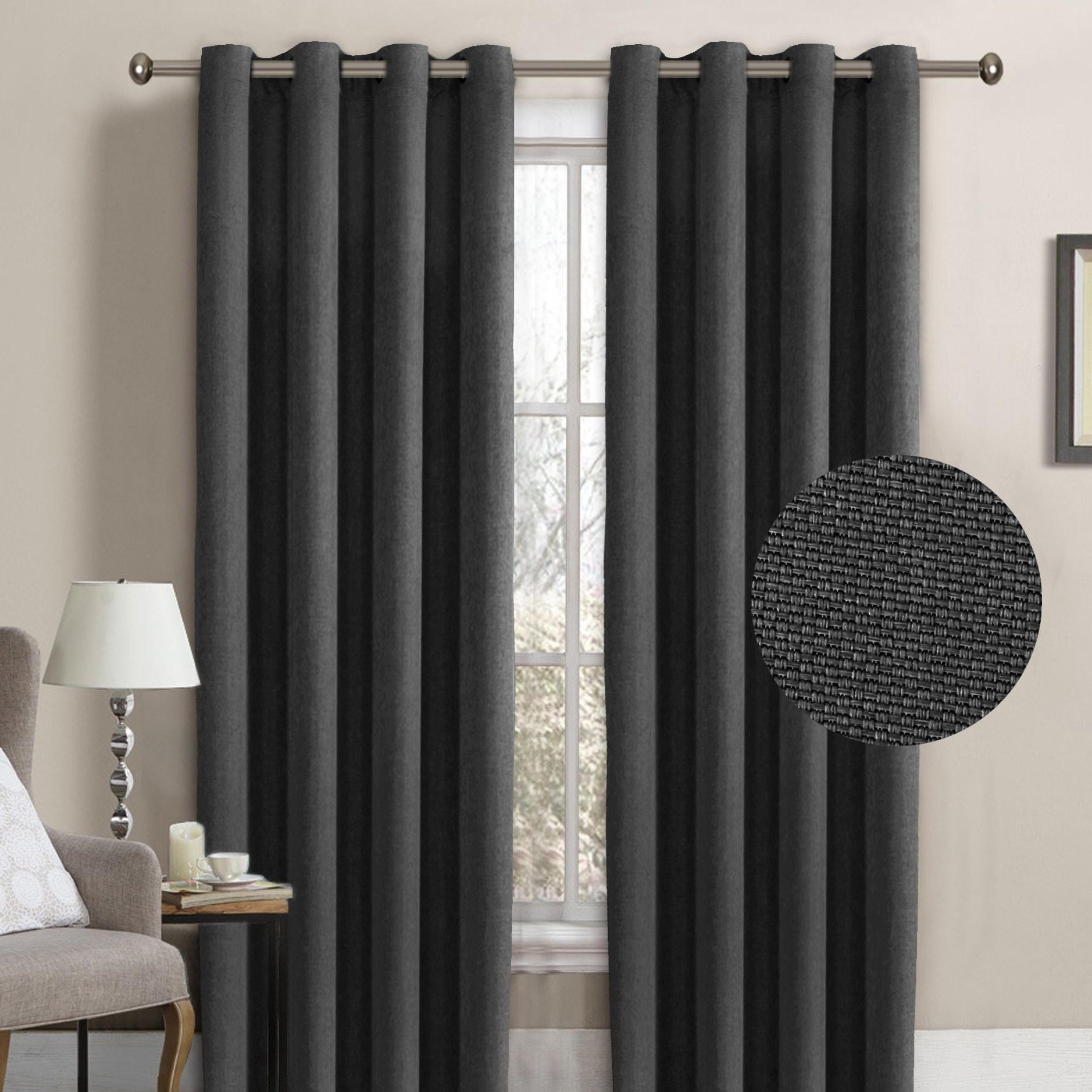 H Versailtex Room Darkening Grommet Faux Linen Curtain Panel 1 Pack Overstock 18114729