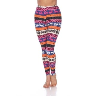 White Mark Women's One Size Fits Most Printed Leggings (Option: Orange)