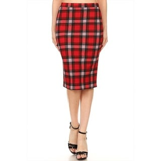 Women's Plaid Pattern Pencil Skirt