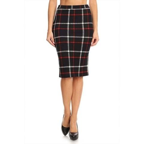 Women's Black Red Plaid Pencil Skirt